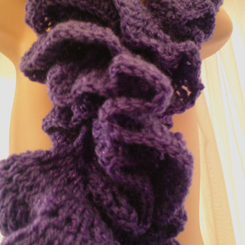 Handmade Crochet RUFFLE and  Twist SCARF Purple and sparkly yarn ID NC72  (nannycheryl original)