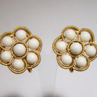 Crown Trifari White Lucite Earrings, Round Ball Design Clip On Style, Gold Tone Setting, Mid Century Jewelry  817