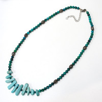 Turquoise with stone bead necklace-Free shipping