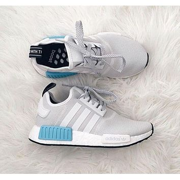 "ADIDAS"" NMD Trending Running Sport Shoes Sneakers Grey White Blue I"