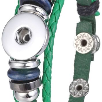 Green DIY Leather Bracelet Multiple Colors for 18MM - 20MM Snap Jewelry Build Your Own Unique