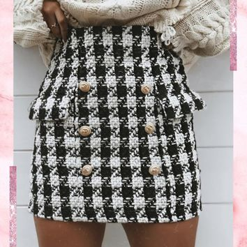 alice black & white dog tooth woolen mini skirt