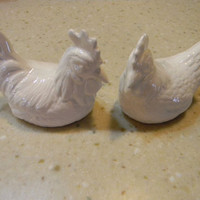 Ceramic  Chicken Rooster & Hen cake toppers or decoration for the home or garden   Vintage Design