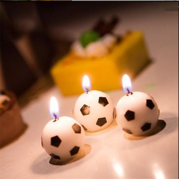 6pc Soccer Candles Birthday Party Decorations Kids World Cup Cartoon Cake Candles Cake Insert Decor Baby Shower party suppies-S