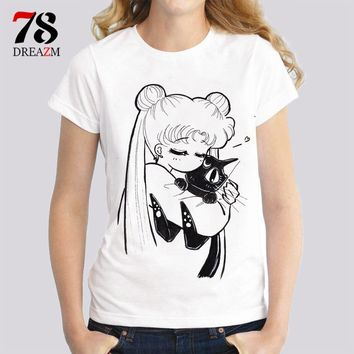 sailor moon t shirts women female Fashion print cat women t-shirt 2017 summer funny Tee shirt Femme harajuku kawaii tops