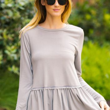 Long sleeve peplum top-grey