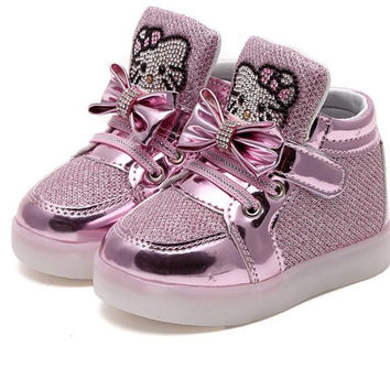 New Toddler Hello kitty Sneakers Girls Chaussure Lumineuse Enfant Children Trainer Kids boy Led Lighting Casual Running Shoes