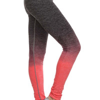 Ombre Full Athletic Leggings in Coral