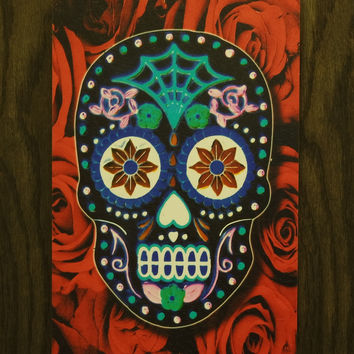 Red Skull Wall Art - Wooden Wall Art - 3D Red Skull - Skull Wall Hanging - Sugar Scull - Day of the Dead - Wood Texture - Home Decor - Gift