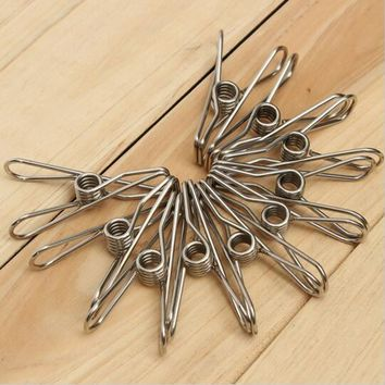 High Quality 10pcs Stainless Steel Spring Clothes Socks Hanging Pegs Clips Clamps Laundry