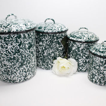 Enamelware Metal Canisters Green White Marble Finish Set of 4