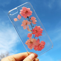 Samsung J3 / J7 Case - Dried Pressed Flowers Handmade on Galaxy J3 / J7 / Alpha G850 Crystal Clear Case: Pink Cherry Blossom Flowers Theme