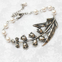 Lily of the Valley Bracelet Spring Wedding Antique Silver Bracelet Bridal Jewelry Cuff White Pearl Bracelet Easter Jewelry Gift for Her