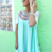 Seabrook Mint Embroidered Chiffon Babydoll Dress