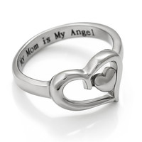 "Mom Ring Double Heart Purity Mothers Ring Gift For Mother - ""My Mom is My Angel"" Engraved"