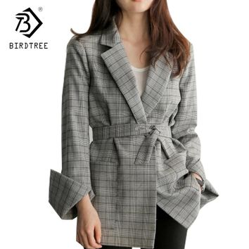 Fashion 2017 New Autumn Women Gray Plaid Office Lady Coat Fashion Bow Sashes Split Sleeve Jacket Elegant Work Jacket Hot C7D103A