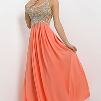 Long One Shoulder Empire Gown