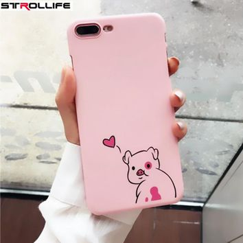 STROLLIFE Cartoon Animal Pig Phone Cases For iphone 7 coque Love Heart Ultra Thin Hard PC Shell Cover For iphone 7Plus 6 6S 5 SE
