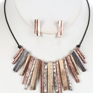 Mulit Color Knife Edge Metal Fringe Bib Necklace And Earring Set