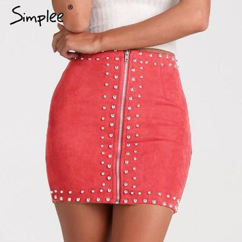 Simplee Causal bead leather suede women skirt Sexy bodycon slim high waist skirt Autumn winter zipper female fashion mini skirts