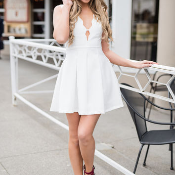 Happily Ever After Scalloped V Neck Dress (White)