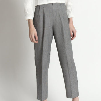 Vintage 80s Black and White Houndstooth High Waisted Trousers | S