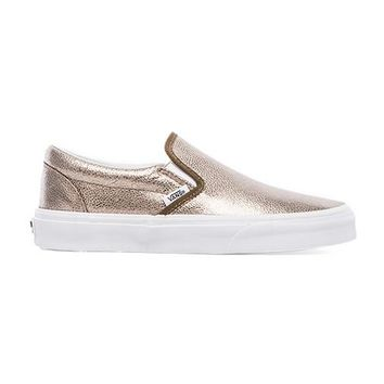 Vans Classic Slip-On Sneaker in Metallic Bronze