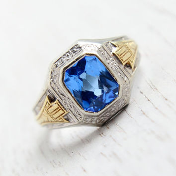 Antique Art Deco 14k White & Yellow Gold Blue Stone Ring - Size 6 1920s 1930s Class Ring Style Fine Jewelry / Emerald Cut London Blue Topaz