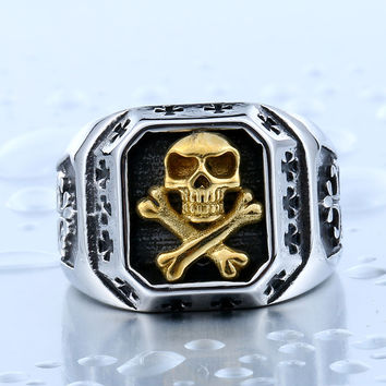 Stainless Steel Pirate Part Plated-Gold Skull Ring For Man Titanium Steel Boy's Punk Ring
