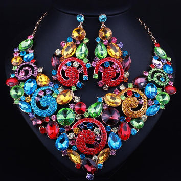 African Dubai Wedding Jewelry sets Big Crystal Rhinestones Necklace and Long Earrings for Women Prom Party
