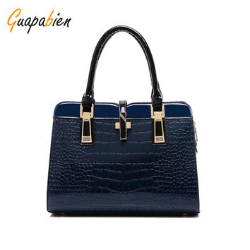 2017 Women Handbags New Bright Leather Crocodile Shoulder Nags Pu Leather 10 Colors Tote Bag Purse Bag Ladies New Arrival