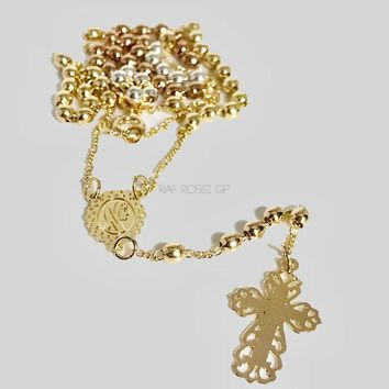 TriColor Rosary  3mm Beads Virgin Rosary 18Kts Of Gold Plated