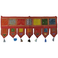 Red Bohemian Tribal Indian Vintage Patchwork Window Valance Topper on RoyalFurnish.com