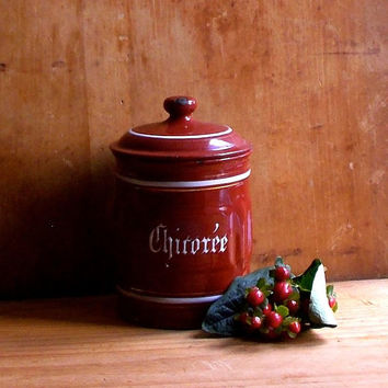 Vintage French Enamel Canister - Chicoree Enamelware Storage Jar - Chicory Graniteware - Country Cottage Decor