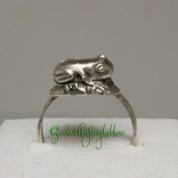 Poison Dart Frog Fine Silver Ring Size 8