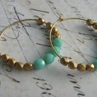 Gold Hoop Earrings, Mint Gold Hoop Earrings, Faceted Glass and 14k Gold Fill Hoop Earrings