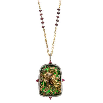 Ruby and Diamond Angel Pendant Necklace