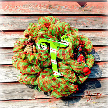 """Personalized Christmas Wreath/ Letter """"T"""" Christmas Wreath/ Christmas Wreath/ Letter Christmas Wreath"""