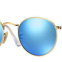 Ray-Ban RB3447 112/4L 50-21 ROUND FLASH LENSES Gold sunglasses | Official Online Store US