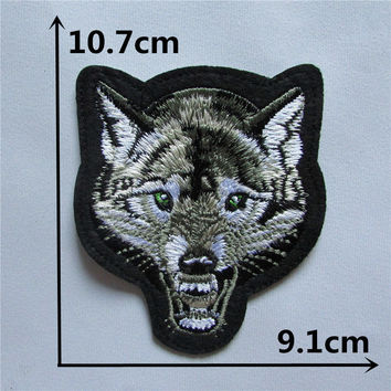 Wolf head patch Hot melt adhesive clothing patch 1pcs applique embroidery blossom DIY accessories Ultra-low prices C123