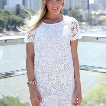 White Lace Front Short Sleeve Shift Dress