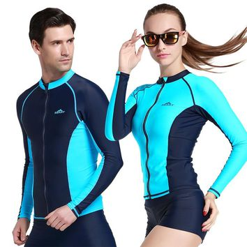SBART 1 PC Zipper Tops Diving Suits Men/Women Swimming Jacket Wetsuits Surfing Rash Guards Swimwears Long Sleeve 2018 DBO