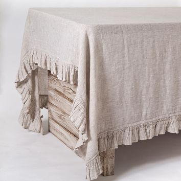 Lily Natural Tablecloth