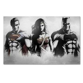 Batman Dark Knight gift Christmas Superman Wonder Woman Batman Canvas Artwork Sketch Fan Art Prints Poster Home Decoration Wall Picture Gray White Painting AT_71_6