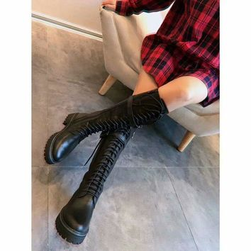 Ann demeulemeester  Trending Women Black Leather Side Zip Lace-up Ankle Boots Shoes High Boots