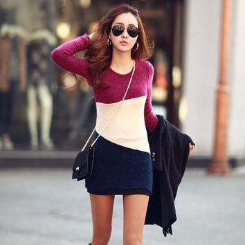 Women Winter Long Sleeve Knitted Jumper Sweater Tops Pullover Bodycon Mini Dress = 1956603588