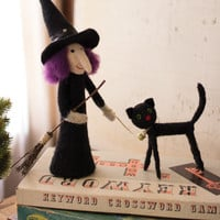 Felt Witch with Pet Cat