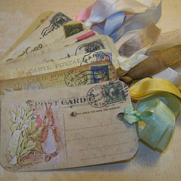 Peter Rabbit Tags - Beatrix Potter Tags - Baby Tags - Wish Tags - Children's Birthday Party Tags - Vintage Collage Style - Set of 8
