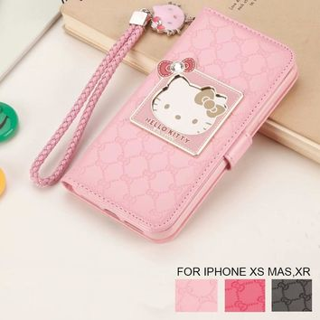 Fashion Women For Apple iPhone X XR XS Max 6 6S 7 8 Plus Phone Case Luxury Wallet Hello Kitty Magnetic Flip PU Leather Cover
