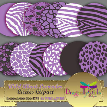 "80% OFF Sale WILD About Lavender Circles 8"" clipart  digital paper, commercial use, scrapbook papers, background, Zebra Leopard Animal Print"